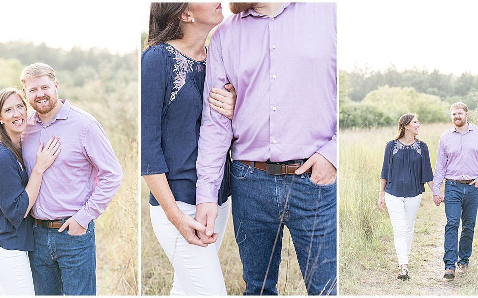 Anniversary photos at Fairfield Lakes Park in Lafayette, Indiana